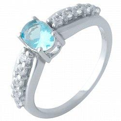 Серебряное кольцо с синтезированным аквамарином и родированием 000128929
