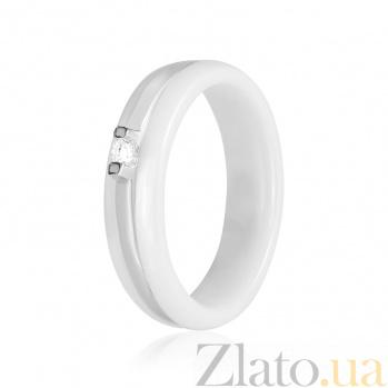 Керамическое кольцо с фианитами Первый снег 000025679