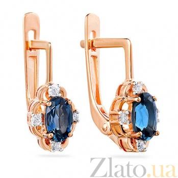 Золотые серьги с топазами и фианитами Шерил SUF--110425Пл