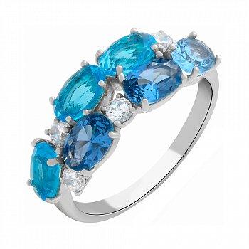 Серебряное кольцо с кварцем под лондон топаз, голубым кварцем и фианитами 000063331