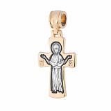 Серебряный крестик Материнская Защита с позолотой и чернением