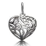 Серебряная подвеска Объемное сердце