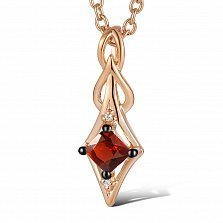 Кулон из красного золота Элеонора с бриллиантами и гранатом
