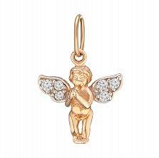 Кулон из красного золота Ангелок с кристаллами циркония