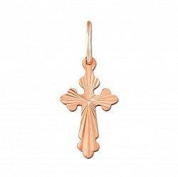 Крестик без распятия из красного золота с алмазной гранью 000135210