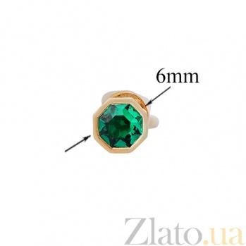 Золотые серьги-пуссеты с гидротермальным изумрудом Вифлеемская звезда 32457st