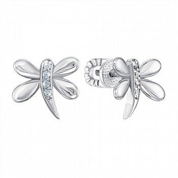 Серебряные серьги с цирконием 000141312