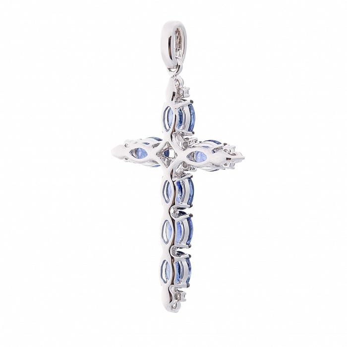 Крестик в белом золоте с сапфирами и бриллиантами 000113199 000113199