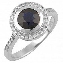 Серебряное кольцо Амбер с сапфирами и фианитами
