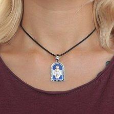 Серебряная ладанка Богородица Моли Бога о нас с синей и черной эмалью