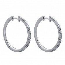 Золотые серьги-кольца Жанин в белом цвете с дорожками бриллиантов