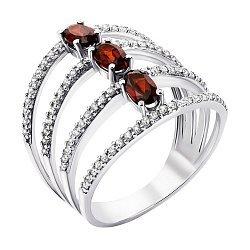 Серебряное кольцо Ирида с гранатом и фианитами