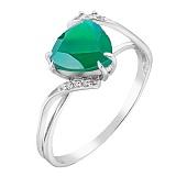 Серебряное кольцо Загадка с агатом и фианитами