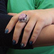 Серебряное кольцо Белинда с фосфосидеритом и аметистами