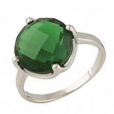 Серебряное кольцо Валери с синтезированным изумрудом
