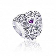 Серебряный шарм-сердце Душевный свет с рубиновым и белым цирконием