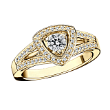 Кольцо в лимонном золоте с микро-паве Dream & Love