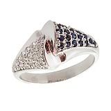 Серебряное кольцо с бриллиантами и сапфирами Филомена