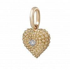 Кулон из красного золота Сердечки с бриллиантом