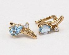 Золотые серьги с топазами и фианитами Мэринелла