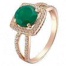 Золотое кольцо Мирейя с зелёным агатом и фианитами
