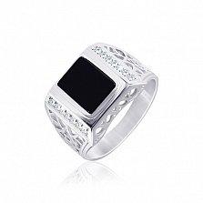 Серебряный перстень с ониксом и фианитами Магнат