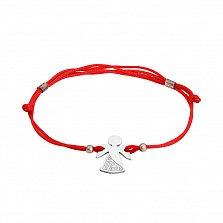 Шелковый браслет Ангел-вышиванка с серебряной вставкой