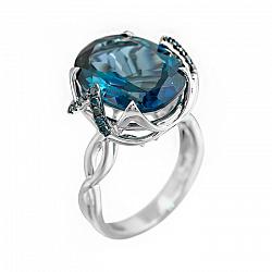 Кольцо из белого золота с голубыми бриллиантами и топазом 000080873