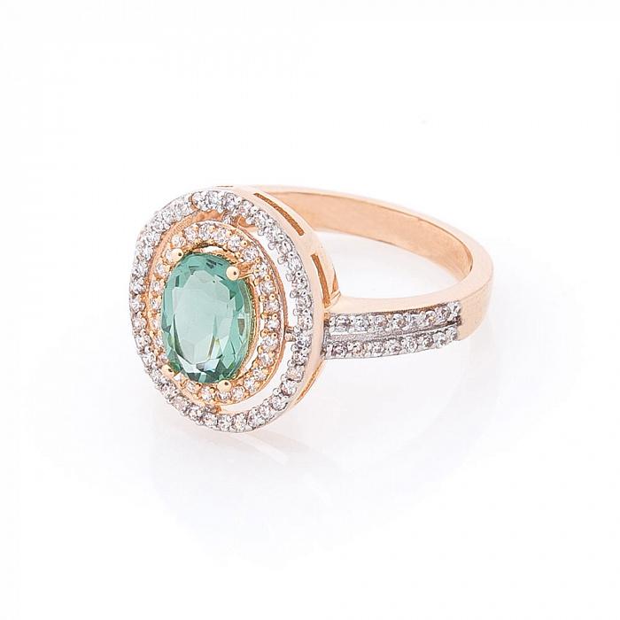 Золотое кольцо Женевьева с дорожками фианитов и кварцем 000082320