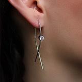Серебряные серьги-скобы Альфия со Swarovski Zirconia