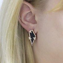 Золотые серьги Пифия с черным агатом в геометрическом стиле