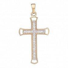 Крестик в желтом золоте Нагори с бриллиантами