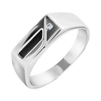 Серебряный перстень-печатка с черной эмалью и завальцованным фианитом 000093476