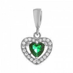 Серебряный подвес Love you с зеленым и белыми фианитами 000072141