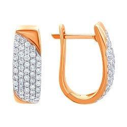 Золотые серьги в комбинированном цвете с бриллиантами 000139367