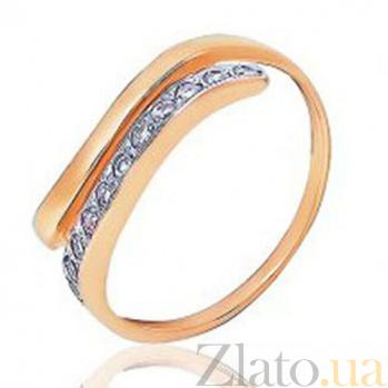 Золотое кольцо с цирконием Дуэт EDM--КД038