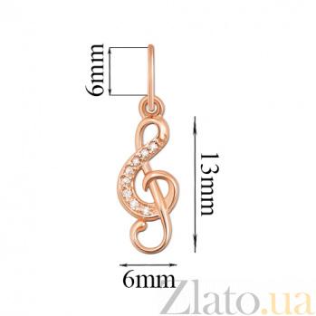 Золотой кулон Скрипичный ключ 31278