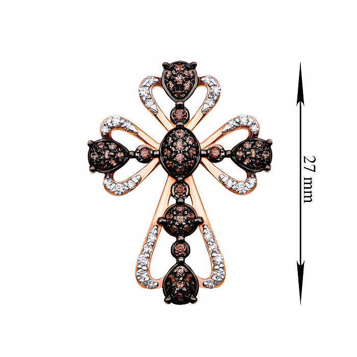 Золотой декоративный крестик в комбинированном цвете с фианитами 000135924 000135924