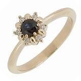 Золотое кольцо Нина с сапфиром и бриллиантами