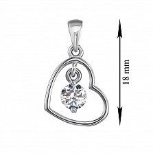 Серебряный кулон Сердечко с подвеской - кристаллом Swarovski в стиле минимализм