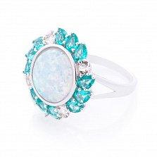 Серебряное кольцо Джорджина с голубым опалом, голубыми и белыми фианитами