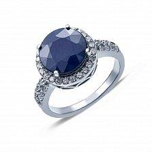 Кольцо серебряное с сапфиром и цирконами Кристэл