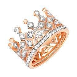Серебряное кольцо-корона с фианитами и позолотой 000042843