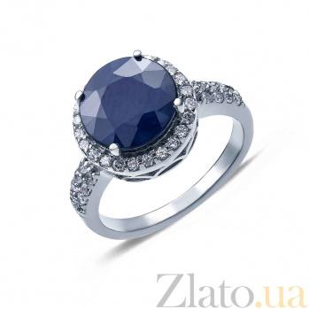 Кольцо серебряное с сапфиром и цирконами Кристэл AQA--R01560S