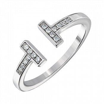 Кольцо с открытой шинкой из серебра с фианитами 000144062