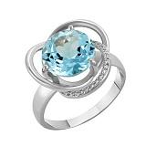 Кольцо в белом золоте Кристина с голубым топазом и фианитами