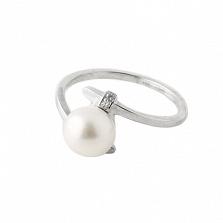 Серебряное кольцо Стильный акцент с белой жемчужиной и Swarovski Zirconia