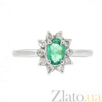 Золотое кольцо Малинка в белом цвете с изумрудом и бриллиантами ZMX--RE-4235w_K