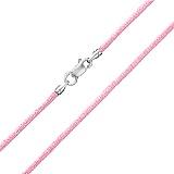 Шелковый шнурок розового цвета с серебряной застежкой Модерн, 2мм