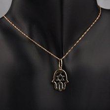 Золотая подвеска Ладонь Фатимы со звездой Давида